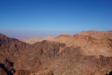Panoramic view of Petra desert from the High Place of Sacrifice, Jordan