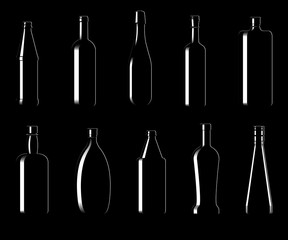 Collection of bottles of different shapes