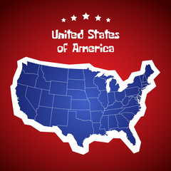 United States Of America Map. USA Cartoon Vector.