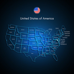 United States Of America Map. USA Techno Vector.