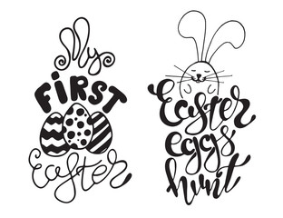 Hand drawn Easter quotes Greeting cards templates with lettering phrases Modern calligraphy style
