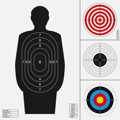 Shooting target set. Silhouette of human, archery target, darts board, range target for firearm, .bow or crossbow.Templates for print. Vector illustration isolated on white background.
