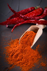 Red paprika in a wooden spoon on a concrete stone background. Spices are scattered on the table