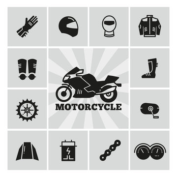 Moto parts motorcycle accessories silhouette icons set