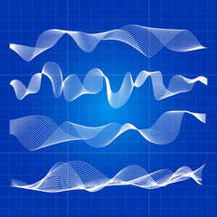 White abstract waves from lines design