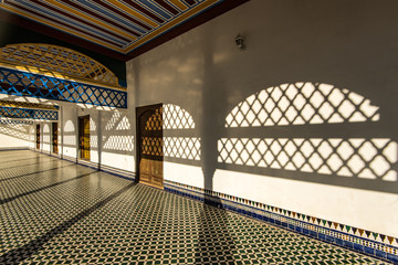 Arch leading into courtyard, Bahia Palace,Morocco