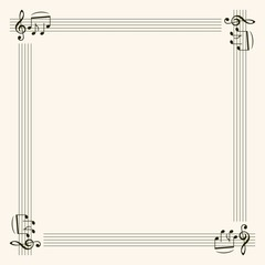 Frame with music notes in the corners