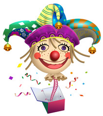 Funny clown buffoon head to jump out of box. Fools Day symbol