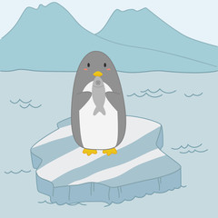penguin holding fish and standing on top of ice floe, cartoon vector.