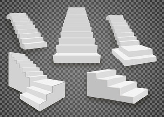 White stairs, 3d staircases. Set, Isolated on transparent background