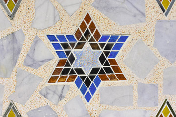 Decorative glass on the surface of the stone.
