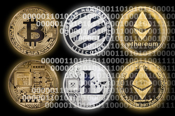 Cryptocurrency / Cryptocurrency coins on black background.