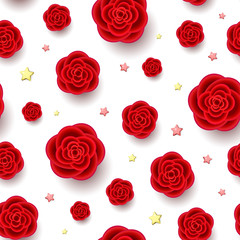 Red realistic flowers and golden stars seamless pattern. 3d roses on white background. Beautiful repeatable backdrop.