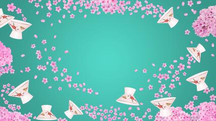 桜と杯 春のお花見と日本酒のイメージ