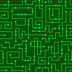 Electronic printed-circuit board vector seamless pattern