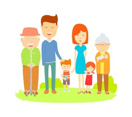 Big family cartooning vector, Flat vector Colorful illustration, Cute style, Family photo on the l