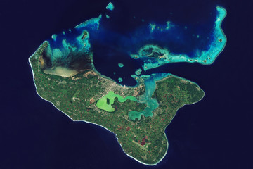 View from space on Tonga in the South Pacific Ocean and its coral reefs - Modified elements of this image furnished by ESA