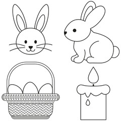 Line art black and white easter icon set bunny candle egg basket icon poster.