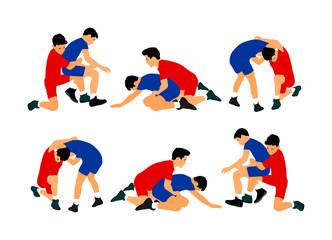 Wrestlers boys wrestling vector illustration isolated on white background.