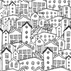Urban winter landscape seamless pattern. Sketch. black and white hand-drawn background for wallpaper, pattern fills, web page background,surface textures. Adult Coloring. Vector