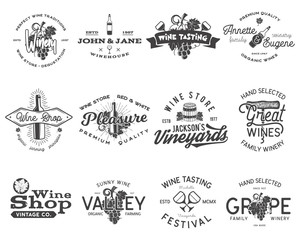 Wine black logos, labels set. Winery, wine shop, vineyards badges collection. Retro Drink symbol. Typographic design vector illustration. Stock vector emblems and icons isolated on white background.