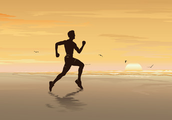 Silhouette of man running on the beach, Fitness boy, Walking, Jogging & Exercise - Vector illustration