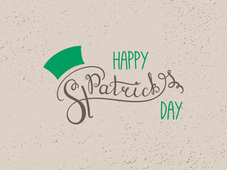 Hand written Happy Saint Patrick's day lettering. Isolated objects. Vector illustration. Design concept for greeting card, banner, celebration.
