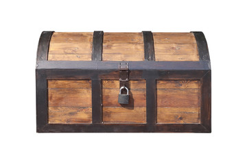 Vintage wooden chest with key lock isolated.