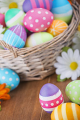 Basket with colourful hand-painted Easter eggs