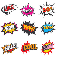 "Comic sound effect set. Bubble speech, label for sale discount. Retro comical book cartoon expression with text ""sale, 50%, OMG! cool, boom, like"" and other. Vector illustration."