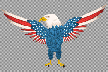 American flag eagle. Vector cartoon illustration of a bird isolated on a transparent background.