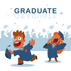 College and university students are graduates. Vector cartoon illustration of a happy boy and red-haired girl in mantle that throw their caps in air.