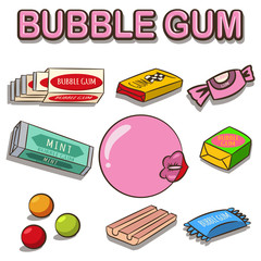 Bubble gum vector cartoon set isolated on white background. Woman lips with gum.