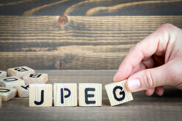 jpeg. Wooden letters on the office desk, informative and communication background.