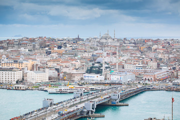 Panoramic view of Istanbul from Galata tower, Turkey