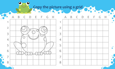 Copy the picture using a grid. Educational game for children. How to draw cute cartoon frog