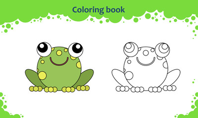 Coloring book page for kids. Color the cartoon little toad.