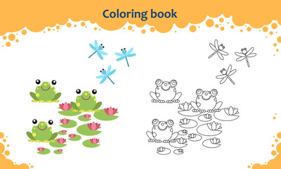 Coloring book page for kids. Color the cartoon frogs with lily and dragonfly.