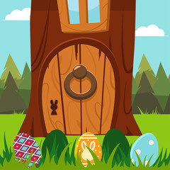Easter bunny door in a tree with eggs in the grass. Vector cartoon holiday illustration.