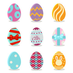 Easter eggs with colorful patterns set. Vector cartoon icons for spring holiday isolated on white background.