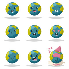 Cute Earth icon set. Vector cartoon character of funny planet with different kawaii emotions isolated on a white background.
