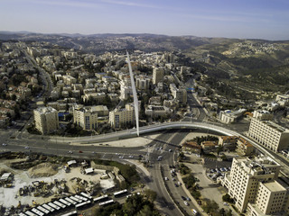 Chords famous hanging Bridge and transportation, The architectic pillar, Jerusalem city center Israel