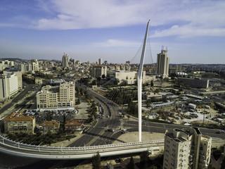 Chords famous hanging Bridge and transportation, The architectic pillar, Jerusalem city center Israel
