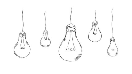 stylish, painted light bulbs for background, interior, design, advertising, ideas, icons, web. vector sketch