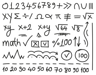 mathematical symbols hand-drawn vector