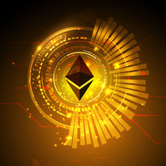 Abstract technology ethereum. circuit line on binary code and gears background. Vector illustration cryptocurrency mining concept.