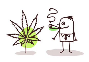 Cartoon Man Smoking Cannabis