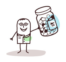 Cartoon Doctor  with Bottle of Medicine Capsules