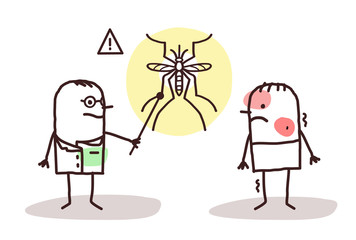 Cartoon Doctor with Sick Man and Dengue Mosquito