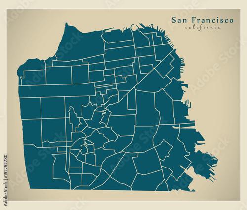 Modern City Map - San Francisco city of the USA with neighbourhoods ...